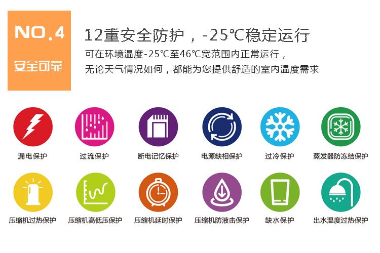 家用空气源热泵优缺点对比七:12重安全防护,-25℃稳定运行